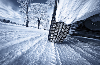 tyres driving over snow