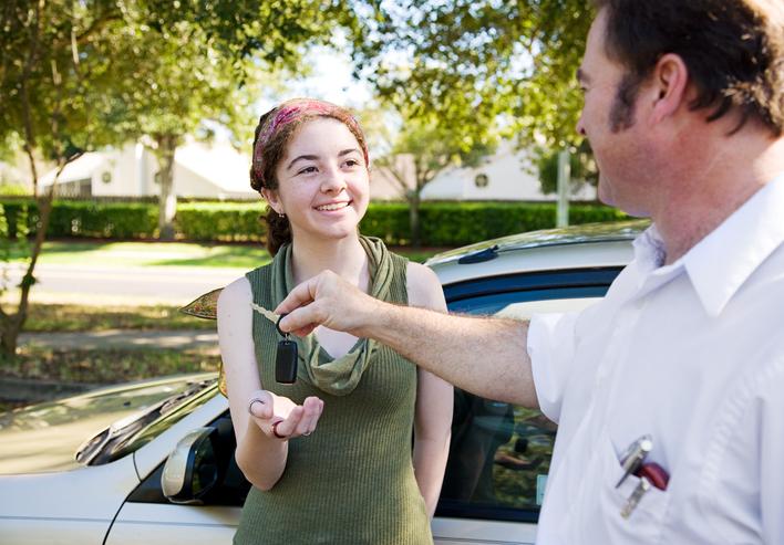 Learner Driver receiving car keys