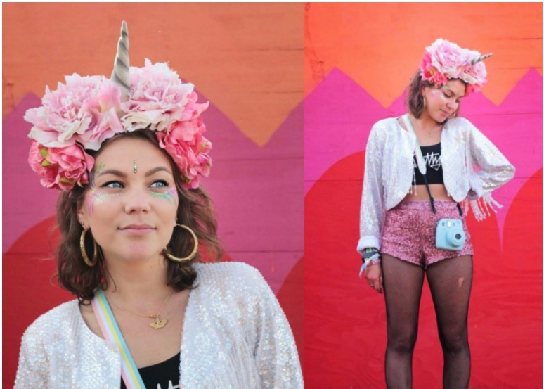 Woman with unicorn flower headband