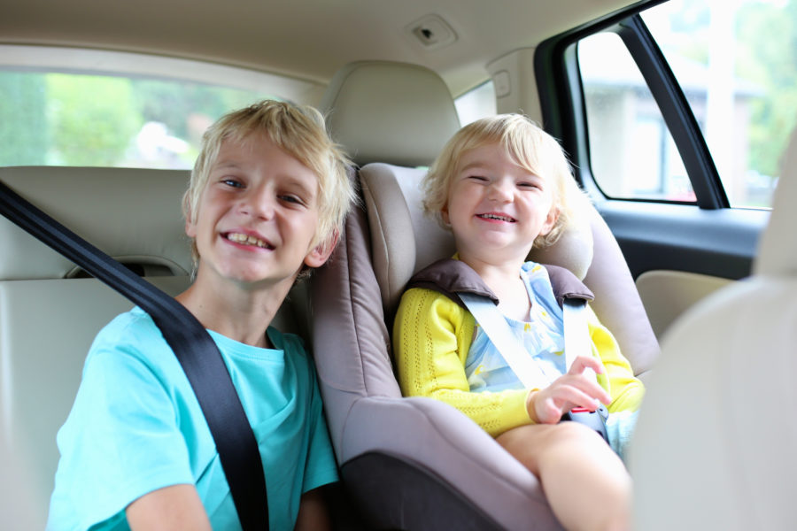Children in the back of a car