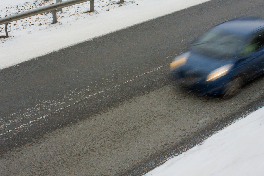 Driving on icy road